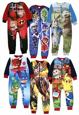 Official Boys Fleece Character Onezee Pyjamas Childrens All In One  Pj's Size