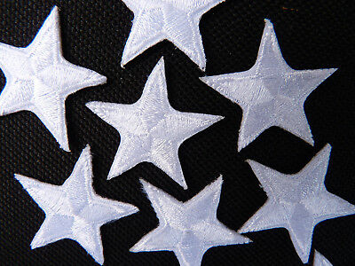 "White star patches > pack of 10 >embroidered> iron-on > 1"" (25mm) hand finished"