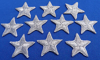 "Silver star patches > pack of 10 >embroidered> iron-on > 1"" (25mm) hand finished"