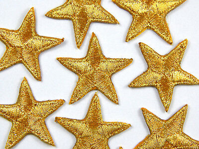 Gold iron-on or sew-on star patches  > embroidered > applique > hand finished