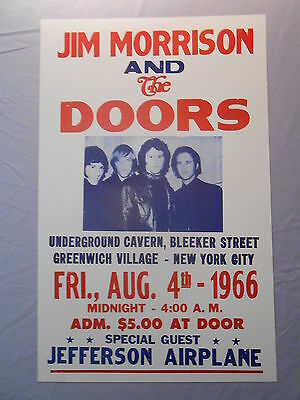 "JIM MORRISON THE DOORS JEFFERSON AIRPLANE 1966 CONCERT POSTER 14"" x 22"""
