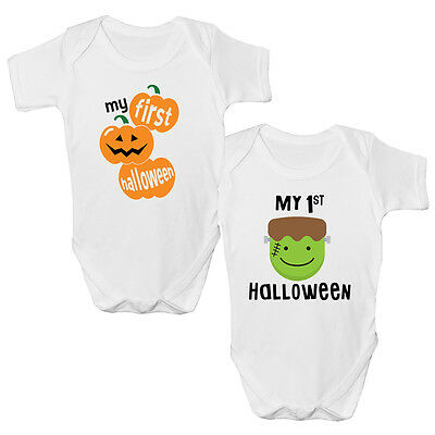 My First HALLOWEEN Pumpkin Frankenstein Funny Baby Vest Grow Top Size Boys Girls
