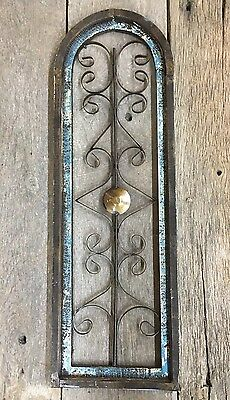 Wooden Blue Antique Style Church WINDOW Wrought Iron Round Top Rustic Gothic