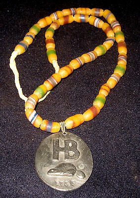 1733 Fort Albany Hudson Bay Fur Trade Medal Glass Trade Bead Necklace Silver Fin
