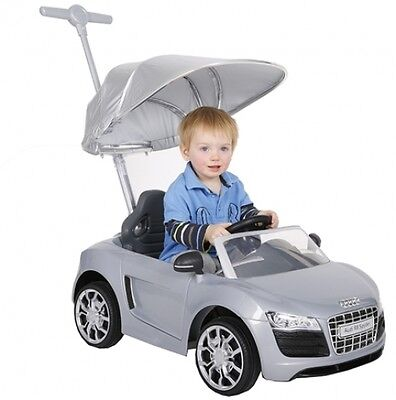Push Buggy Car Ride On Toy Audi R8 Silver Canopy Kids Toddler Outdoor Boy Along