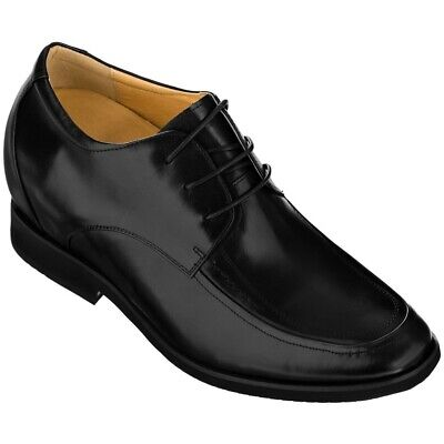 3 Inches Elevator Height Increase Black Leather Cap Toe Shoe TOTO F6506C