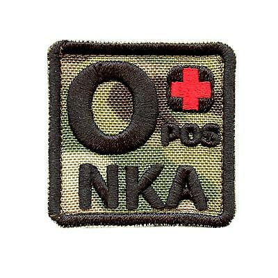 O+ OPOS NKA blood type multicam woodlands embroidered NKDA touch fastener patch