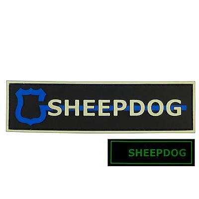 glow dark sheepdog thin blue line PVC 3D rubber SWAT police GITD fastener patch
