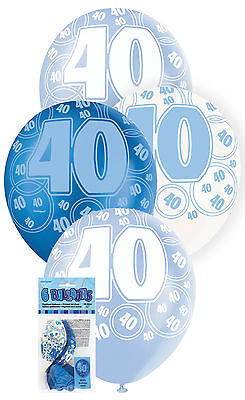 40th BIRTHDAY BALLOONS PK6 PARTY DECORATIONS BLUE AND WHITE LATEX