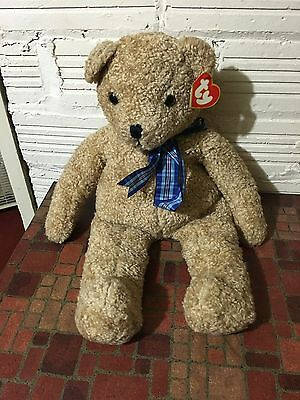 "TY Lg. Curly Gold Bear  9019 Korea 24"" P.E. Pellets 1991 Beanie Baby New Tags"