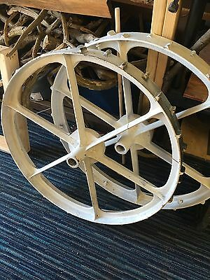 "Cast Iron Vintage 33"" Tractor/wagon Wheels"