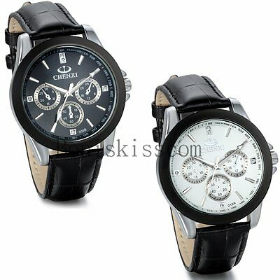 Business Luxury Dress Dial Leather Strap Band Analog Quartz Men's Wrist Watch