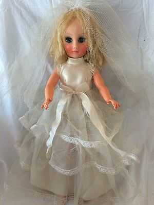 "Vintage 19"" BRIDE Fashion Doll 14R Wedding Gown Veil Shoes Panties"