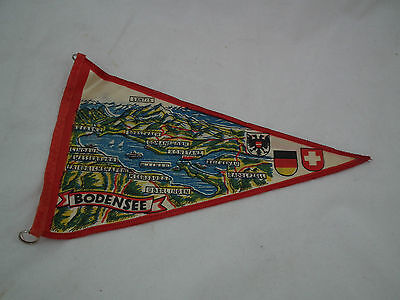 1950's CLOTH Souvenir FLAG Pennant KONSTANZ GERMANY Vintage Graphics BODENSEE