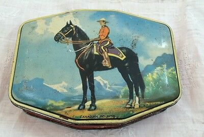 Vintage GEORGE HORNER Toffee Tin CANADIAN MOUNTIE Candy England