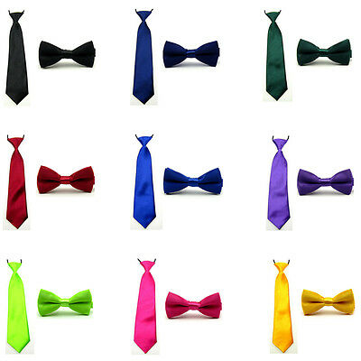 Boy Kids Baby Solid Satin Plain Bow Bowtie Match Pre-tied Elastic Neck Tie Set
