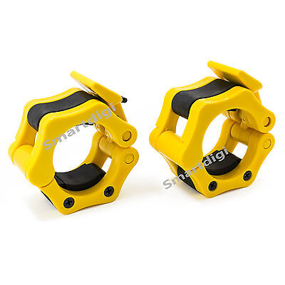 Pair 50mm Yellow Lock Jaw Collars Olympic Barbells Muscle Clamps Bar Lockjaw 2''