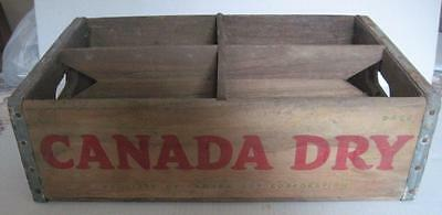 Vintage Canada Dry Wood Crate Metal Corners 4 Sections/Compartments Red Letters