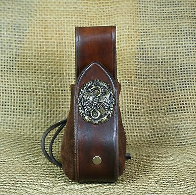 Pouch Coins bag Leather brown Dragon Decorative rivet Belt loop Medieval Viking