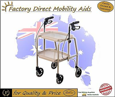Days Kitchen 2 Tray Trolley Walker on Wheels with Lockable Brakes Mobility aid