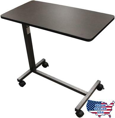Drive Medical Non Tilt Top Overbed Table, Silver Vein, New, Free Ship