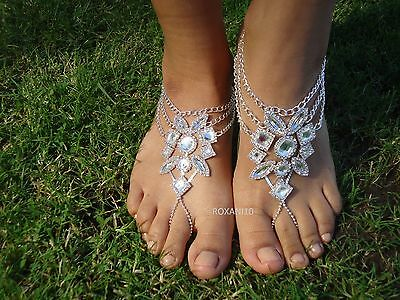Shining Crystal barefoot sandals ~ anklet foot Beach Wedding ~ silver