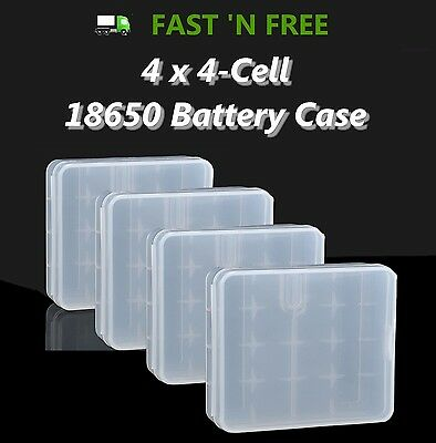 NEW Lot of 4 Hard Plastic 4-Cell 4 x 18650 Battery Storage Case w/ Metal Hook