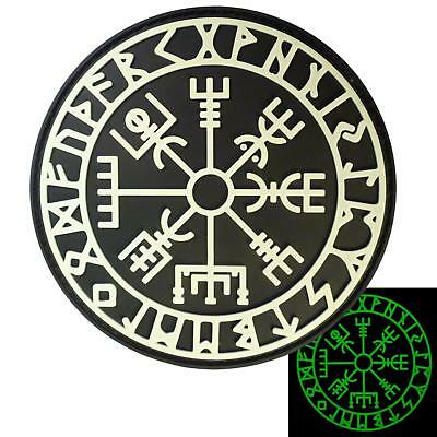 vegvisir viking compass PVC rubber glow dark morale tactical futhark hook patch