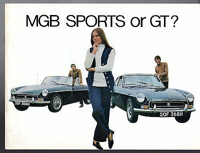 MG MGB 1969-70 UK Market Sales Brochure Roadster & GT