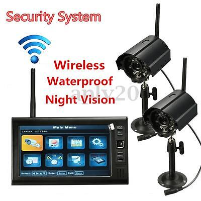 """Digital 2 Wireless 4CH Outdoor Home Security 7"""" LCD Monitor CCTV Camera System"""
