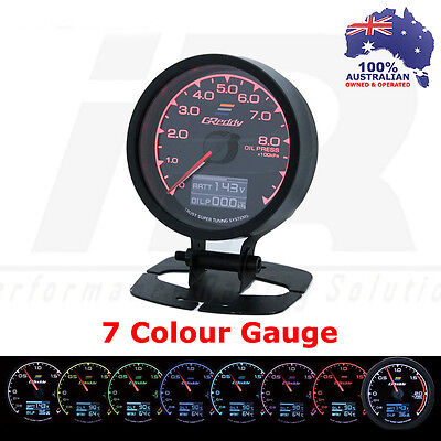 Greddy Multi D/A Oil Press Gauge Digital Analog 7 Colour + VOLTS Universal Fit