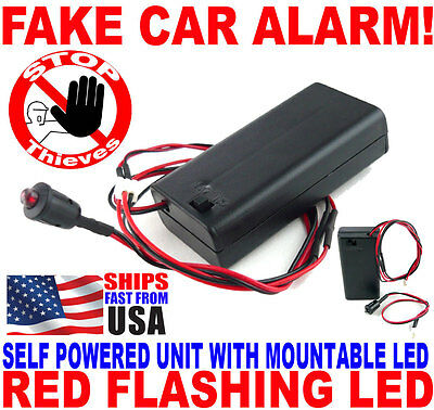 Flashing Red LED Light Fake Boat Car RV Dummy Alarm No Wiring ON/OFF Switch WLB