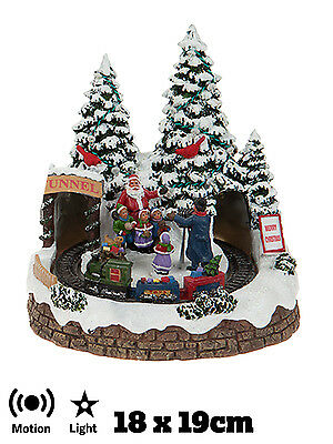 Animated Village Scene Christmas Moving Train Light Up Traditional Decoration