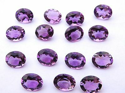 15 Pc Natural Amethyst Faceted Oval Shape 9X11 mm Cabochon Loose Gemstone