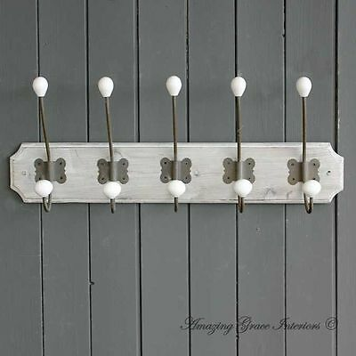 French Vintage Style Wall Mounted Coat Hooks Rack Storage Hat Rack Shabby Chic
