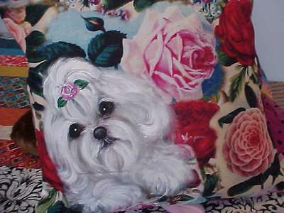 Maltese Hand Painted On Pillow Roses & Roses Gorgeous!