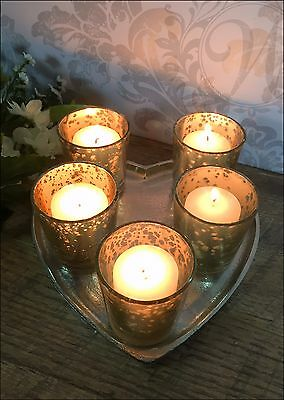 Silver Tray Glass Votive Tea Light Candle Holder Wedding Decoration Selection