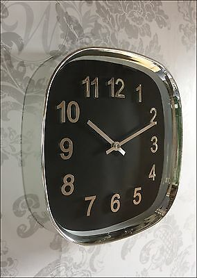 Silver Wall Clock Vintage Retro Chrome Polished Glass Black Square Glass Front