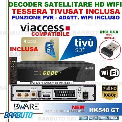 Decoder Satellitare Hd Hk540Gt+Wifi+Tessera Tivusat Hd, Compatibile Tv Svizzera