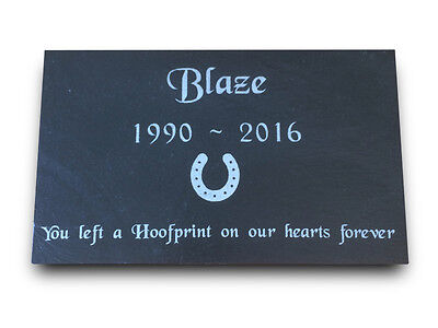 """Personalised Engraved Slate Pet Memorial Grave Marker Plaque for a Horse 7 x 4"""""""