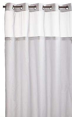 Hookless Mystery Snap-In Peva Liner Fabric Shower Curtain White