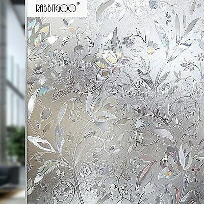 Rabbitgoo Premium No Glue 3D Static Decorative Frosted Privacy Window Films f...