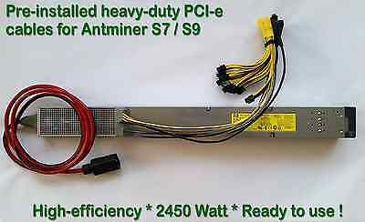 Power Supply for Antminer S9 / T9 / S7 + Complete PCI-e Wiring Installed