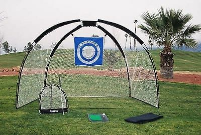 Ajillis Inc 3 in 1 Golf Practice Set Mat Driving Net Chipping Net and Bag