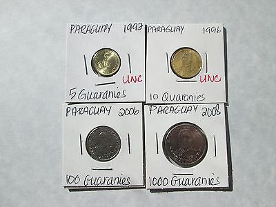 PARAGUAY   4 coins, 1992-2008, circ-unc, no dups, carded
