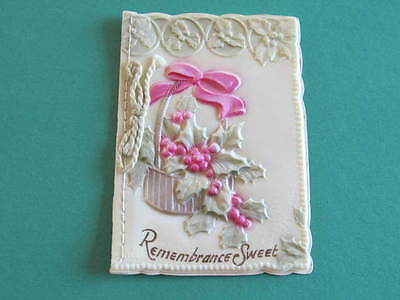 Remembrance Sweet Celluloid Xmas Greeting Card