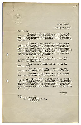 1924 Letter Re King Tut's Tomb From US Govt re Tourists