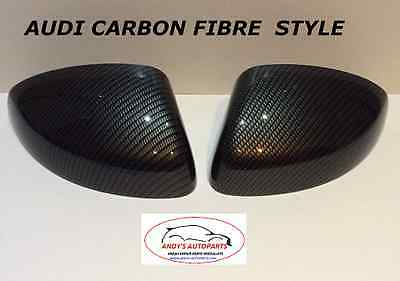 Audi A1 2012 Onwards Wing Mirror Covers L/h & R/h In Carbon Fibre Hydro Dipped
