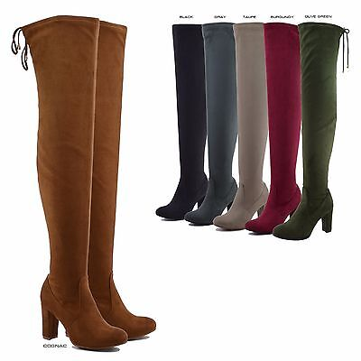 NEW Women Stretchy Over The Knee Thigh High Drawstring Chunky Heel Boot 5.5 - 10