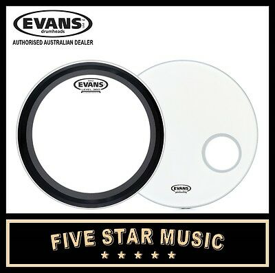 """Evans Emad  And Eq3 Skin Set With Coated White Skins 22"""" Bass Kick Drum Skins"""